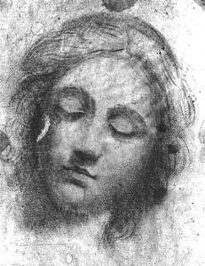By Caravaggio, Merisi Michelangelo (Attributed) - Study on the head of Christ. 'Supper in Emmaus'