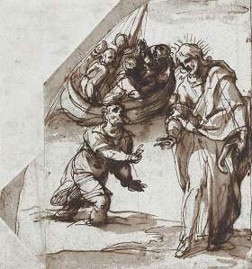 By Cignani, C. - Christ treading and floating over water
