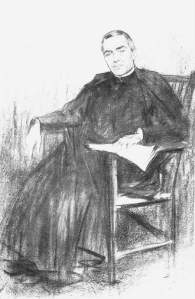 By Casas, R. -  Priest Cinto Verdaguer wearing cassock