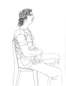 By Hockney - Portrait of a young man seated on a chair