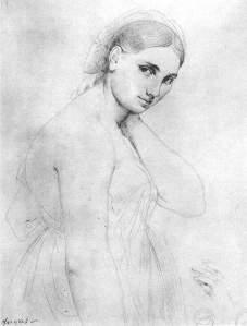By Ingres - Portrait of the Fornarina, the sitter and lover of Raphael