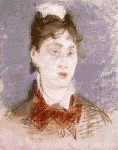 By Manet - The lady of the grey eyes wearing a bow-tie
