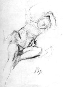 By Balthus - Study of a female figure reclined