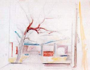 By Balthus - Study of a tree included into a draft