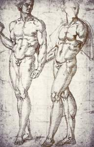 By Bandinelli - Two men holding hands with heads turned to the left