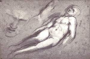 By Barocci - Sketches on head and body of a man lying