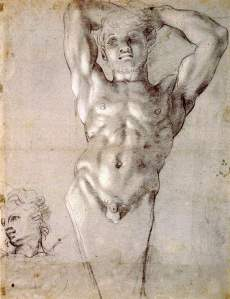 By Carracci - Male model posing with hands on head and study of a face