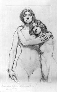 By Cox, K. - Study of two embraced women, one holding a staff