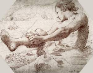 By Da Correggio, Antonio - Young man unrolling his underpants