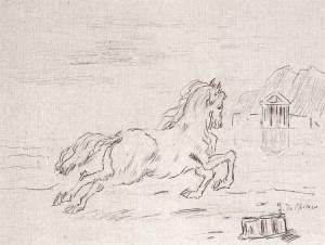 By De Chirico - Horse running in landscape