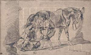By Delacroix - A blacksmith while he repairs a horseshoe