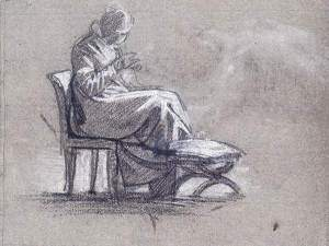 By Delacroix - Woman sitting on a stool to embroidery and sewing