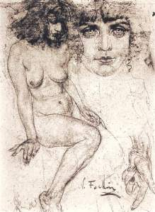 By Fechin, N. - Study of the head, hands and body of a woman