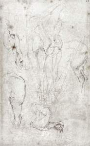 By Michelangelo - Sketches of horses