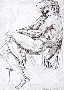 By Michelangelo - Young man sitting and leaning on his right side