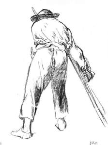 By Millet - Sketch of a reaper seen from rear