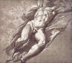 By Parmigianino - Reclined male figure