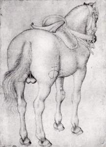 By Pisanello - Saddled stallion