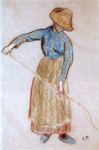 By Pissarro - Peasant with a pitchfork