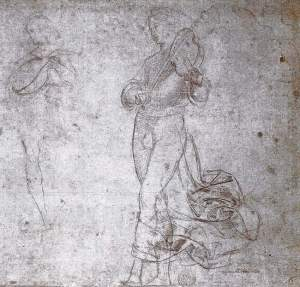 By Raphael - Study of two angels, one plays the violin, the other plays the lute