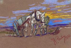By Repin, Ilya - The tired horse pulling a cart