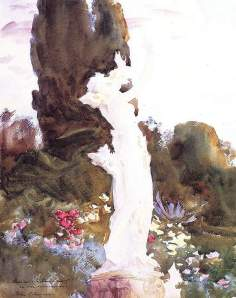 By Sargent, John Singer - Study of plants and flowers behind a bright sculpture