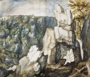 By Savery, R. - A horseman between cliffs