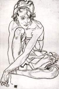 By Schiele - Girl posing wearing stockings
