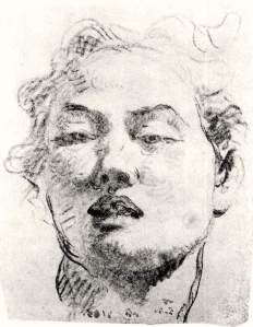 By Tiepolo, G. B. - Sketch of the face of a youth