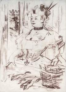 By Toulouse-Lautrec - A fish saleswoman