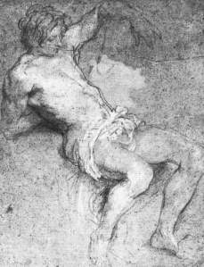 By Van Dyck - Study of a half dressed male figure