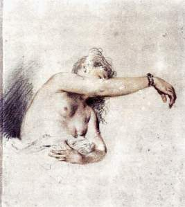 By Watteau - The sitter raises her right arm to show bare breast