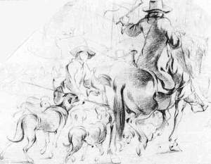 By Weenix, J. B. - Hunters on horseback with dogs