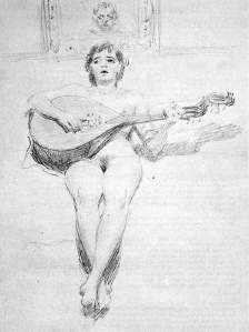 By Zorn, Anders  - Nude girl playing lute