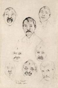 By Corinth - Eight studies of self-portrait