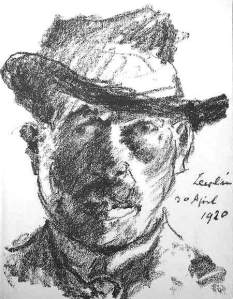 By Corinth - The artist seen by himself wearing a hat