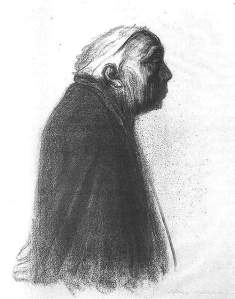 By Kollwitz, Käthe - Self-portrait seen in profile
