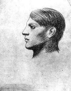 By Picasso - Self-portrait seen in profile, left side