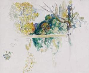 By Renoir - Study of trees beside a pond