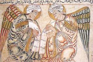 By Anonymous author of 13th century (Wasit. Iraq) - Guardian angels recording the deeds of men in their scrolls