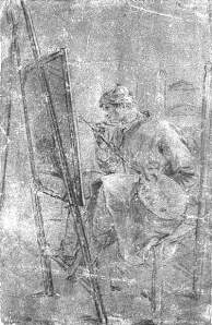 By Chardin - A painter painting a picture sitting on his easel