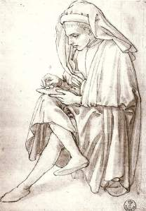 By Finiguerra, Maso - A young man drawing on her legs