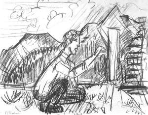 By Kirchner - Sketch-depiction of Otto Müller while is drawing