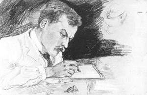 By Macke - Portrait of Dr. Ludwig Deubner, writing