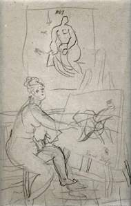 By Raoul, Dufy - A naked girl is painting in front the easel