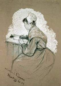 By Toulouse-Lautrec - A maid writing a letter