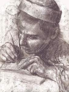 By unknown master of the School of Annibale Carracci - A lad writing with his pen