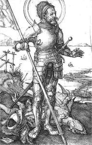 By Dürer - St George holds the flag while his helmet is over the dragon