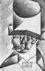 By Gris, J. - Head of a man with hat and habano