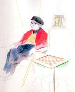 By Hockney - Portrait by the game board